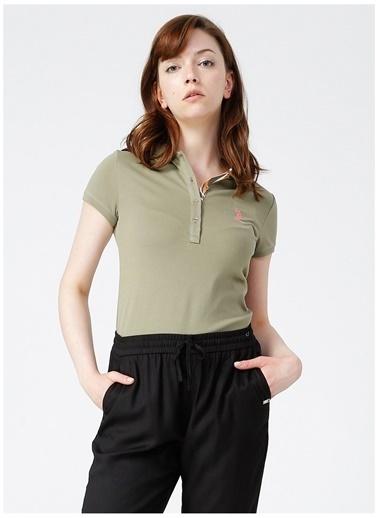 U.S. Polo Assn. U.S. Polo Assn. Kadın Slim Fit Polo Yaka Haki Tişört Haki
